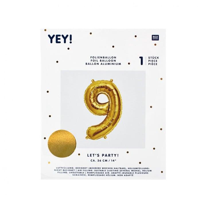 Фолиев балон, 36 cm, злато Фолиев балон, цифра 9, 36 cm, злато