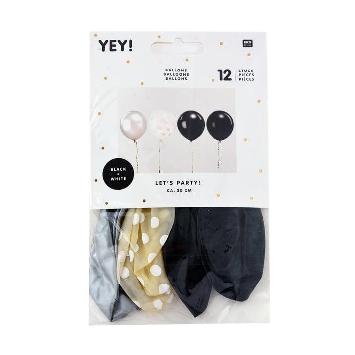 Балони микс черно/бяло, 12 бр, 30 cm