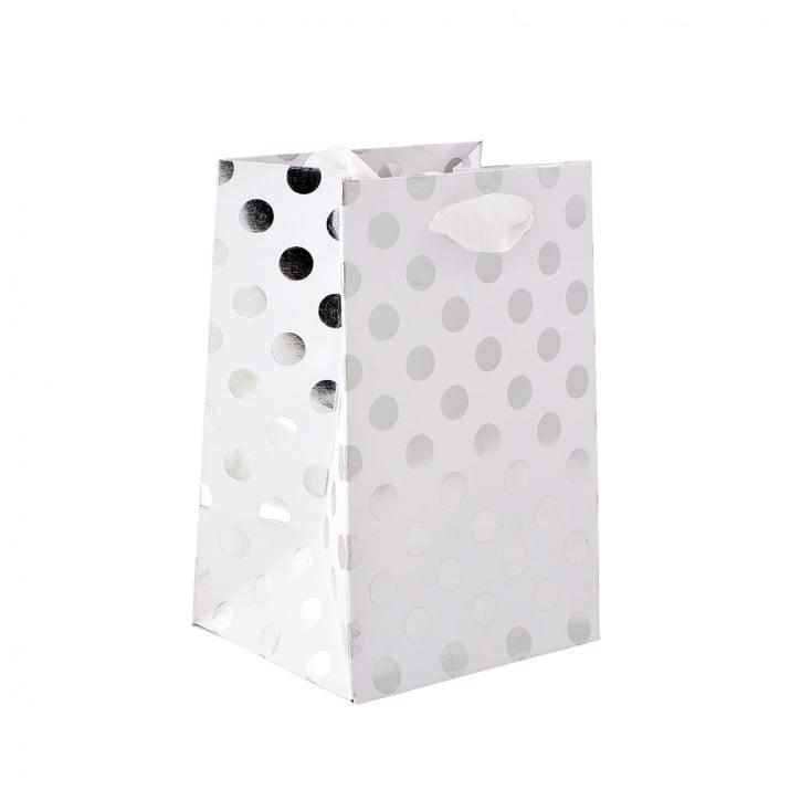 Подаръчна чанта бяла на сребърни точки, 12x18x10cm