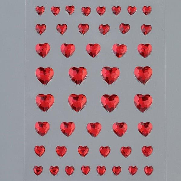Самозалепващи се кристали Самозалепващи се кристали, Herz, сърце, 4, 6, 8, 10 mm, 46  бр., червени