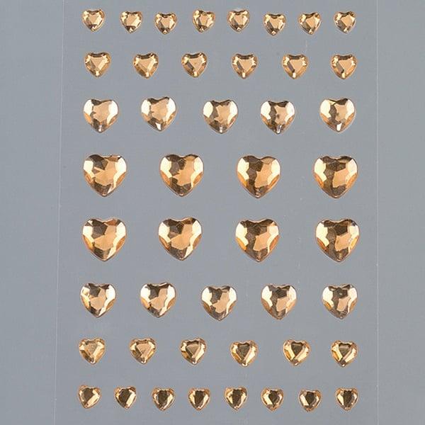 Самозалепващи се кристали Самозалепващи се кристали, Herz, сърце, 4, 6, 8, 10 mm, 46  бр., светъл топаз