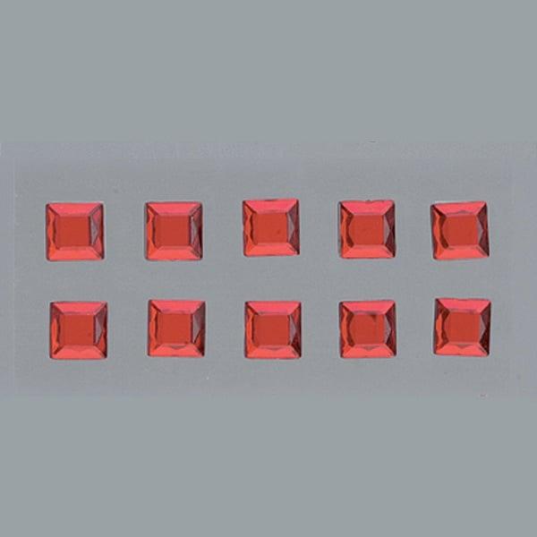 Самозалепващи се кристали Самозалепващи се кристали, Quadrat, квадрат, 4, 5, 6, 8 mm, 48 бр., червени