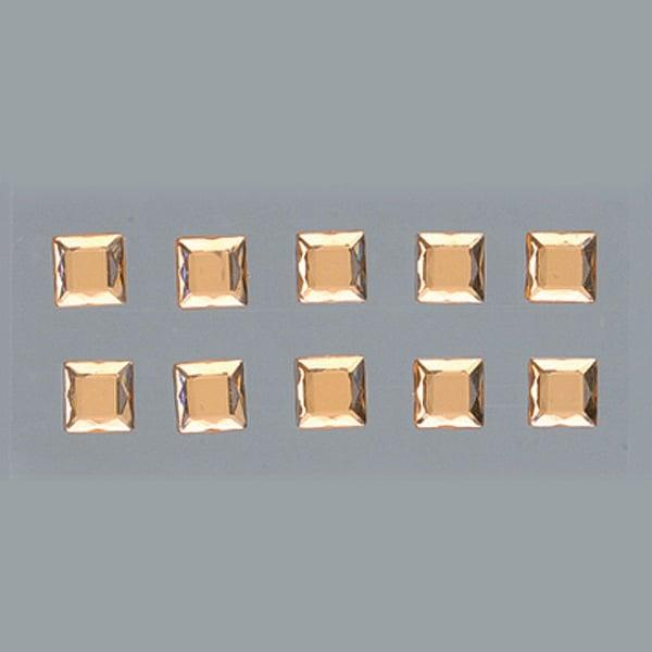 Самозалепващи се кристали Самозалепващи се кристали, Quadrat, квадрат, 4, 5, 6, 8 mm, 48 бр., светъл топаз