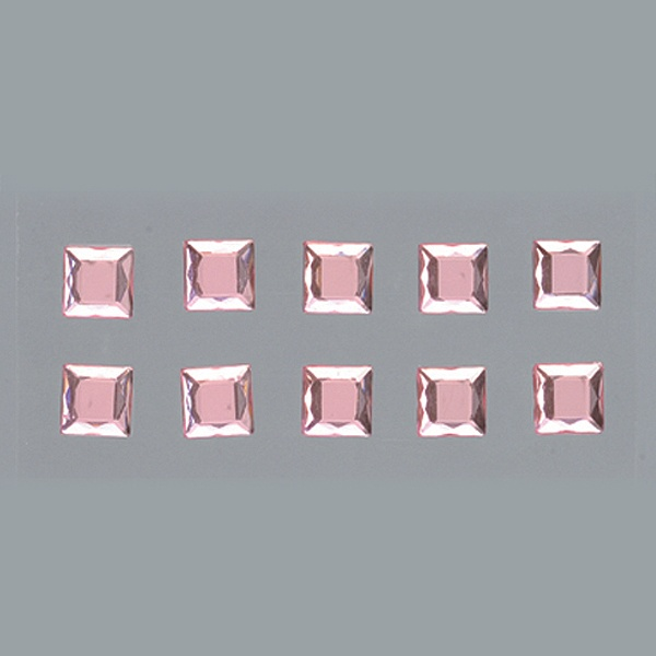 Самозалепващи се кристали Самозалепващи се кристали, Quadrat, квадрат, 4, 5, 6, 8 mm, 48 бр., светла роза