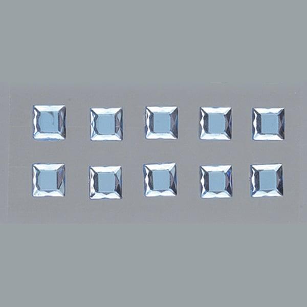 Самозалепващи се кристали Самозалепващи се кристали, Quadrat, квадрат, 4, 5, 6, 8 mm, 48 бр., светло сини