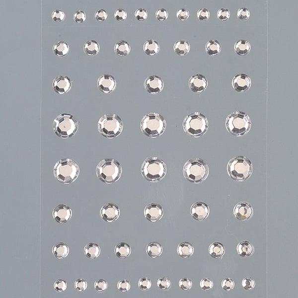 Самозалепващи се кристали Самозалепващи се кристали, Rund, кръг, 4, 5, 6, 8 mm, 54 бр., кристал