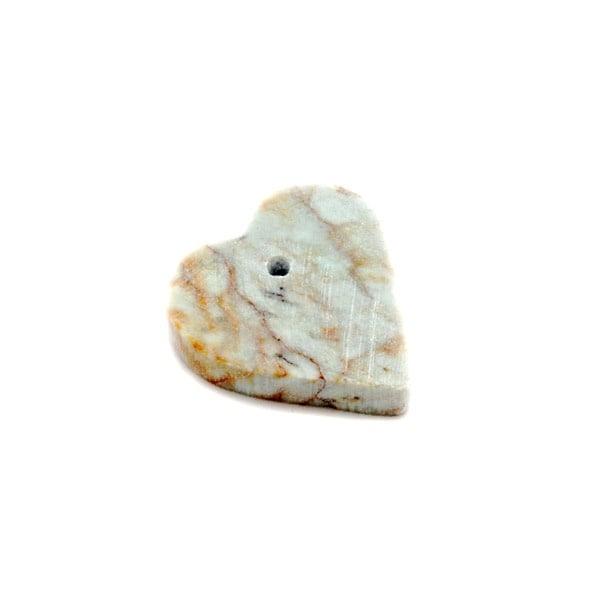 Сапунен камък за изработка на амулет във формата на сърце с отвор, зеленокафяв