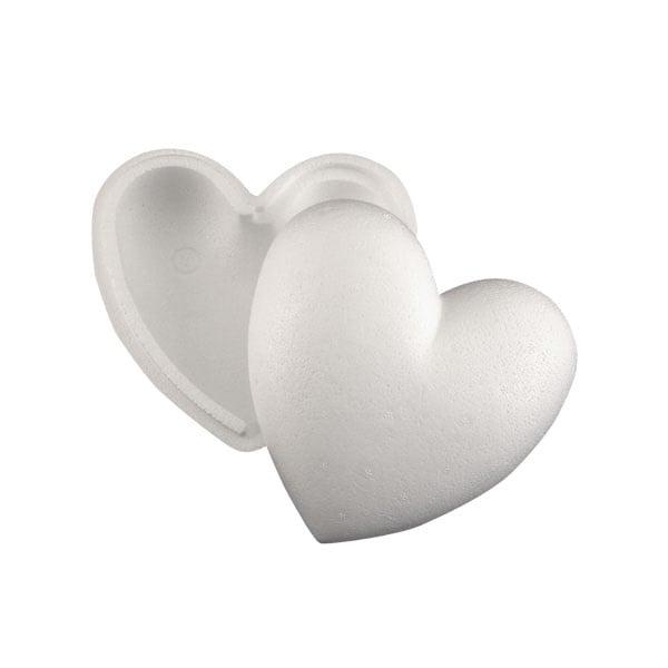 Сърце от стиропор, бял, 150 mm, 2 части
