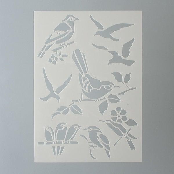 Шаблони за декорация  Шаблон, птици, 8 части, DIN A5
