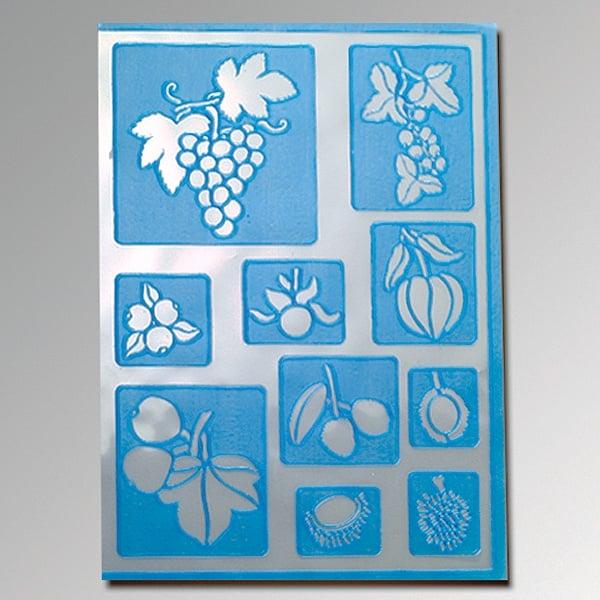 Алуминиево фолио, 20 х 30 см / 0,15 мм, 3 бр., двуцветно - червено и сребристо Шаблон самозалепващ, плодове, 10 части, DIN A5