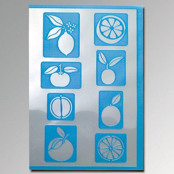 Алуминиево фолио, 20 х 30 см / 0,15 мм, 3 бр., двуцветно - червено и сребристо Шаблон самозалепващ, тропически плодове, 8 части., DIN A5