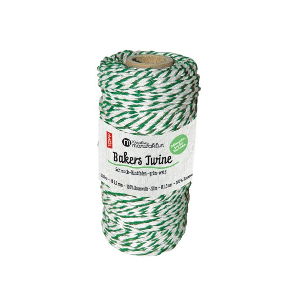 Шнур за опаковане, зелено/бяло