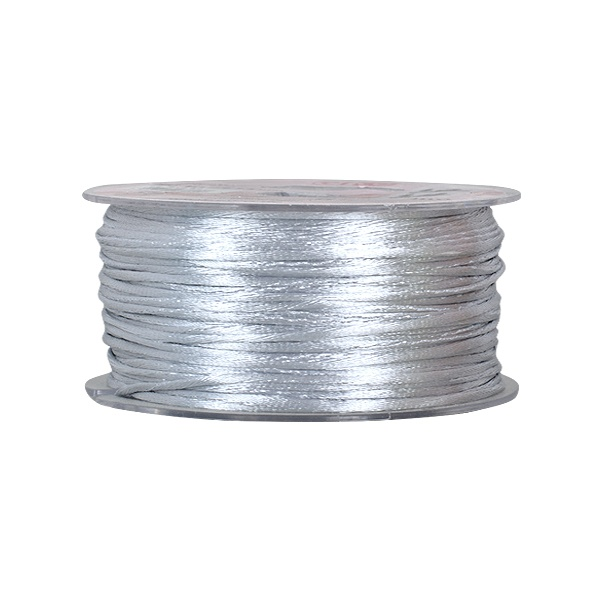 Сплетен шнур, сатен, 2 mm, 50 м. ролка Сплетен шнур, сатен, 2 mm, 50 м. ролка, светло сив