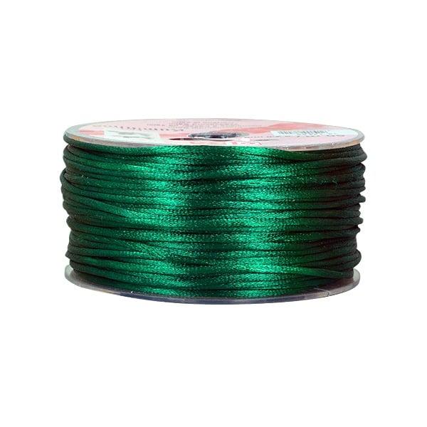 Сплетен шнур, сатен, 2 mm, 50 м. ролка Сплетен шнур, сатен, 2 mm, 50 м. ролка, тъмно зелен