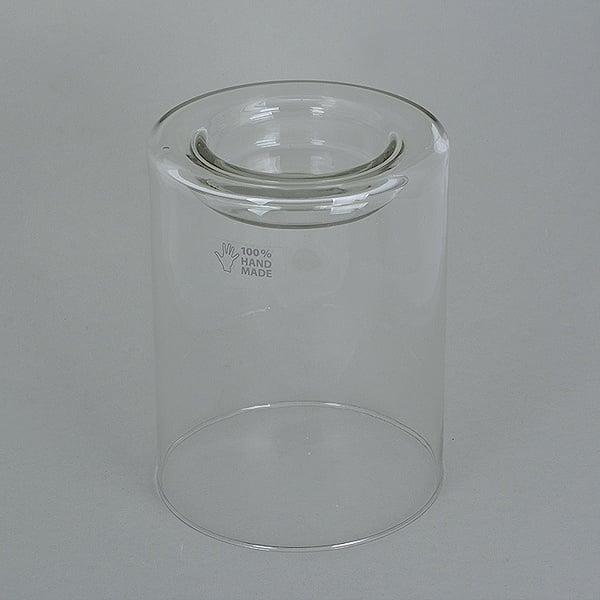 Стъклена поставка за свещ, 17 x ф 13 cm,2 бр. ръчна изработка