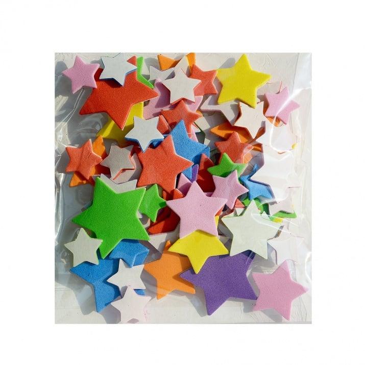 Комплект деко фигурки Звезди от пеногума, 55 бр.