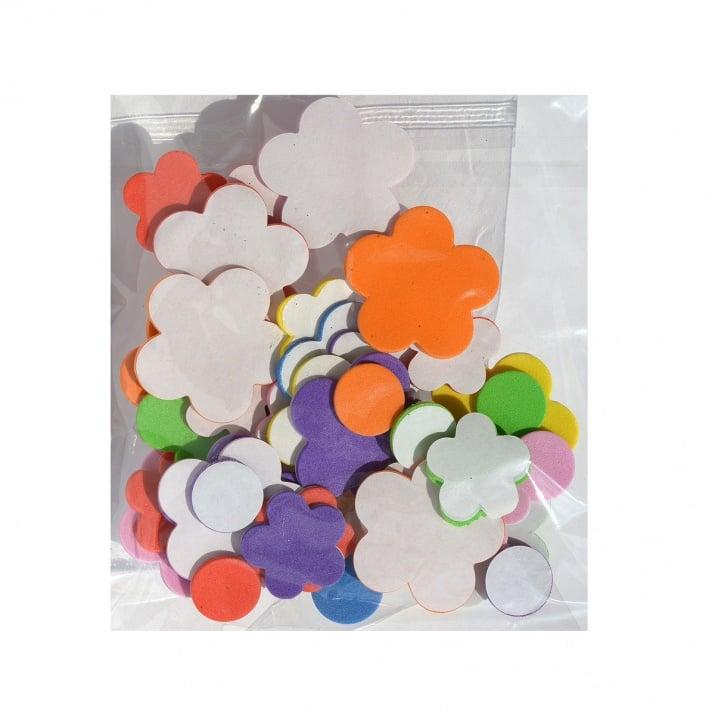 Комплект деко фигурки Цветя от пеногума, 30 бр.