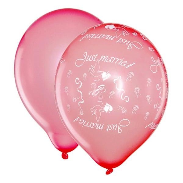 """Сватбени балони """"Just Maried"""", 8 броя, розови тонове."""