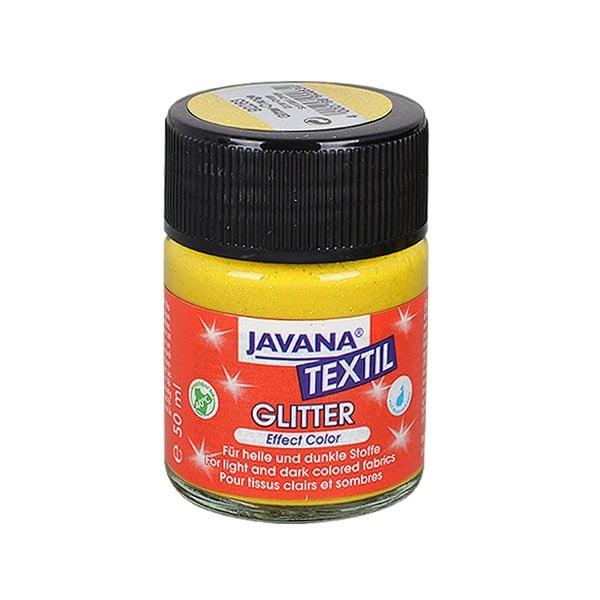Текстилна боя Glitter JAVANA, 50 ml Текстилна боя Metallic Glitter JAVANA, 50 ml, слънчево жълта