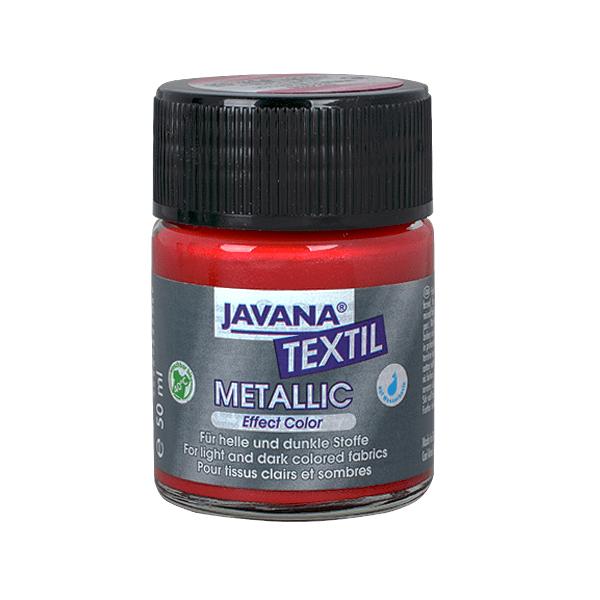 Текстилна боя, Metallic JAVANA, 50 ml /за светла и тъмна основа/ Текстилна боя Metallic JAVANA, 50ml, червена