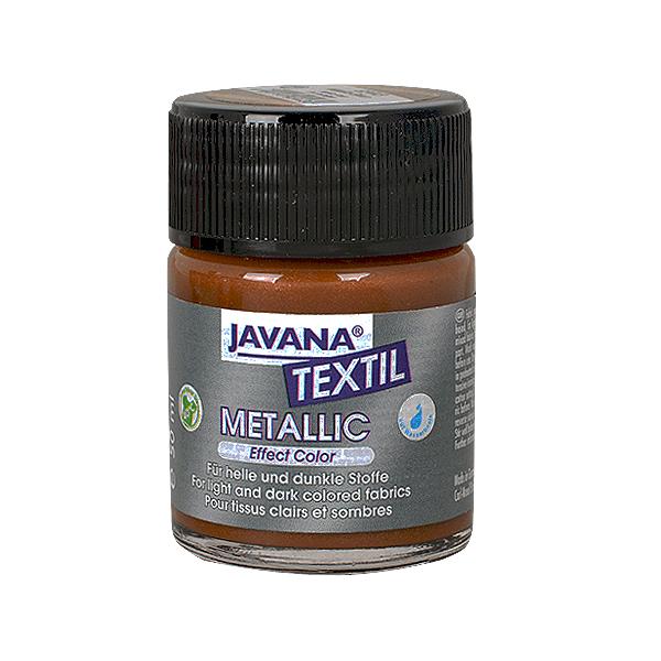 Текстилна боя, Metallic JAVANA, 50 ml /за светла и тъмна основа/ Текстилна боя Metallic JAVANA, 50ml, кафява