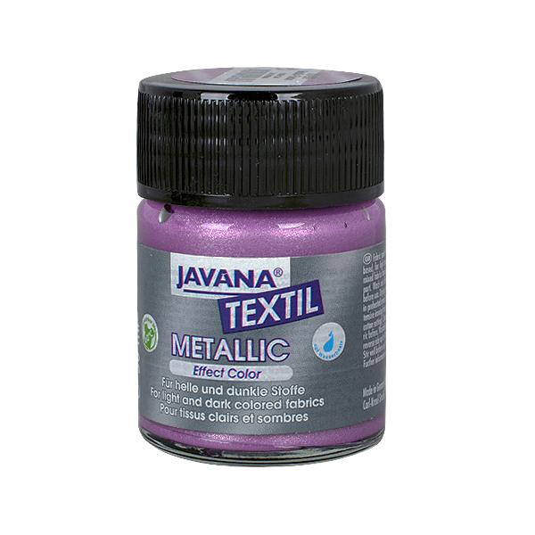 Текстилна боя, Metallic JAVANA, 50 ml /за светла и тъмна основа/ Текстилна боя Metallic JAVANA, 50ml, люлякова
