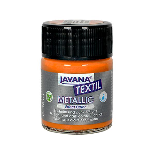 Текстилна боя, Metallic JAVANA, 50 ml /за светла и тъмна основа/ Текстилна боя Metallic JAVANA, 50ml, оранжва