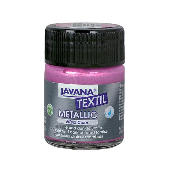 Текстилна боя, Metallic JAVANA, 50 ml /за светла и тъмна основа/ Текстилна боя Metallic JAVANA, 50ml, роза