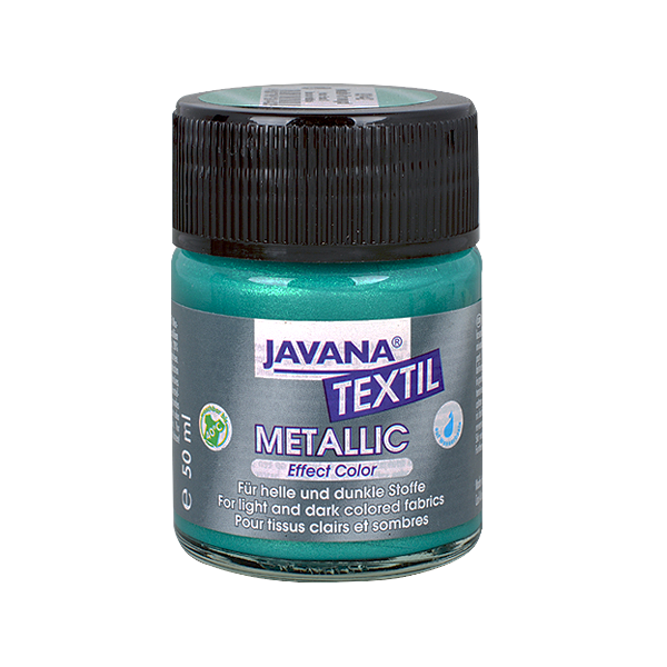 Текстилна боя, Metallic JAVANA, 50 ml /за светла и тъмна основа/ Текстилна боя Metallic JAVANA, 50ml, смарагдово зелена