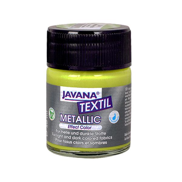Текстилна боя, Metallic JAVANA, 50 ml /за светла и тъмна основа/ Текстилна боя Metallic JAVANA, 50ml, светло зелена