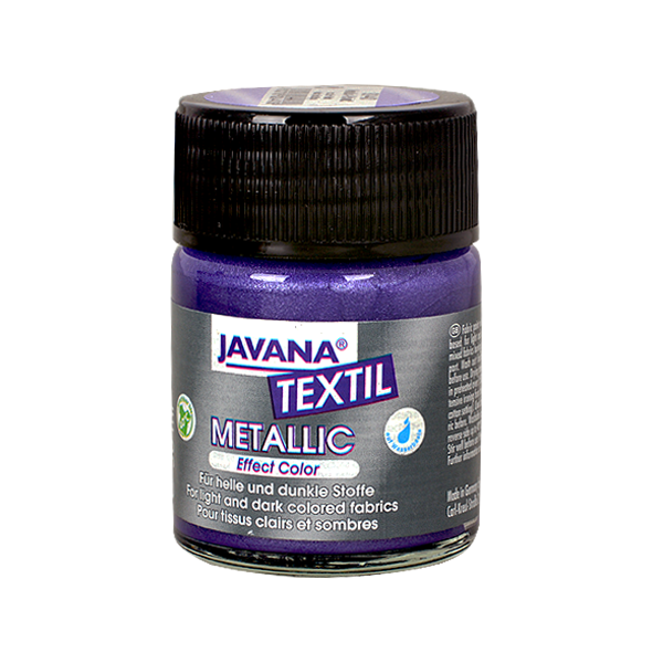 Текстилна боя, Metallic JAVANA, 50 ml /за светла и тъмна основа/ Текстилна боя Metallic JAVANA, 50ml, виолетова