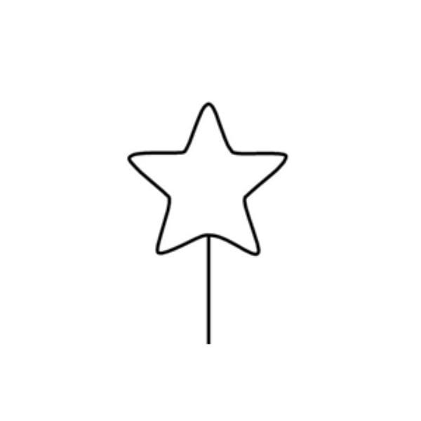 Телена форма за украсяване, 14 cm, звезда с дръжка