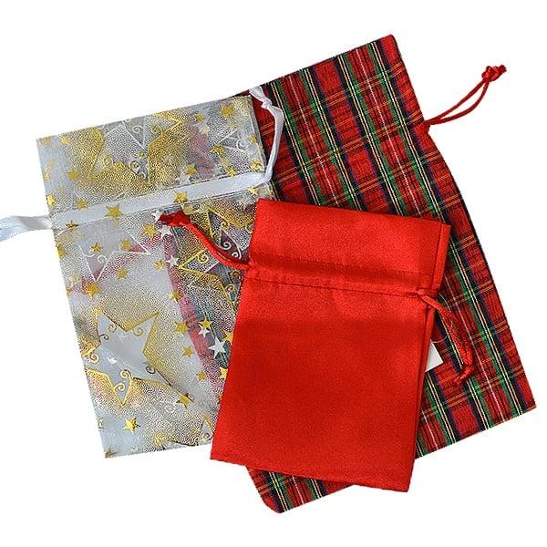 Торбичка подаръчна карирана, 13 x 18 cm, червена/зелена