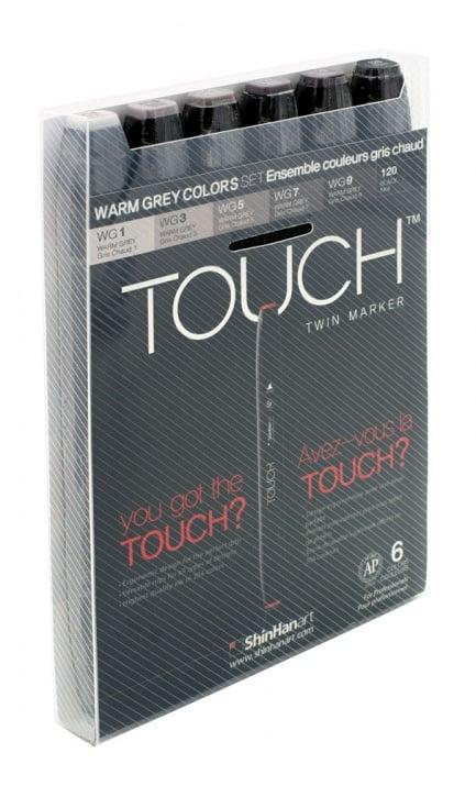 Комплект маркери TOUCH TWIN, 6 бр., топли степени на сиво
