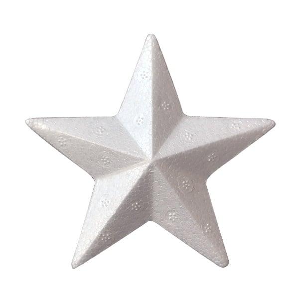 Звезда с ръбове от стиропор, бял, 100 mm