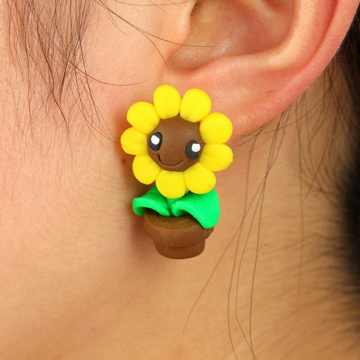 "Арт обеци с 3D ефект - ""Sun Flower"" - Слънчево цвете"
