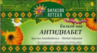 АНТИДИАБЕТ - билков чай, филтър 20 пакетчета, BIOHERBA HEALTH CARE