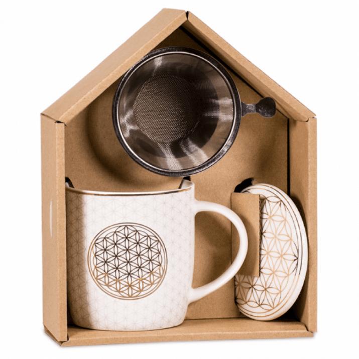 Красив комплект за чай - Цветето на живота