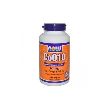 НАУ ФУДС КОЕНЗИМ Q10 60 мг. + ОМЕГА дражета * 30