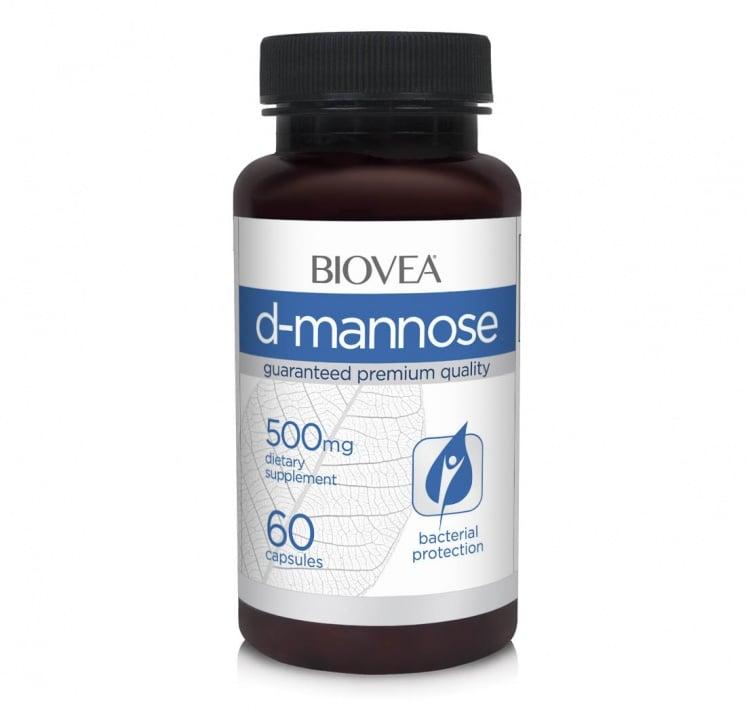 Д-МАНОЗА - подкрепя здравето на уринарния тракт - капсули 500 мг. х 60, BIOVEA