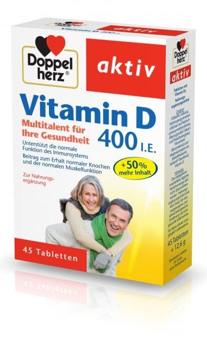 ДОПЕЛХЕРЦ АКТИВ ВИТАМИН D - за здрави кости и нормална мускулна система - таблетки 400 IU х 45, QUEISSER