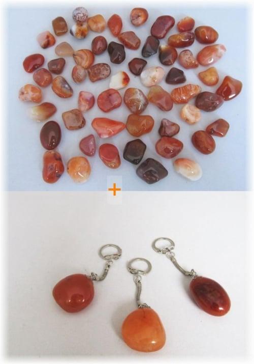 Комплект Ключодържател + Естествен камък КАРНЕОЛ
