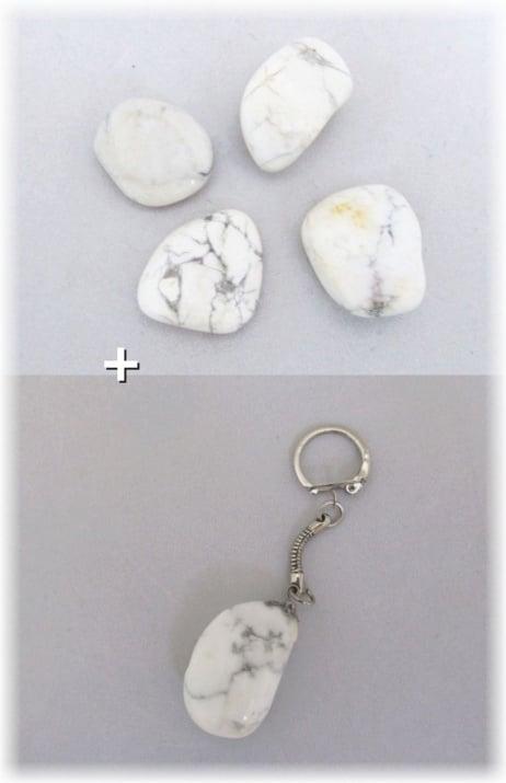 Комплект Ключодържател + Естествен камък МАГНЕЗИТ