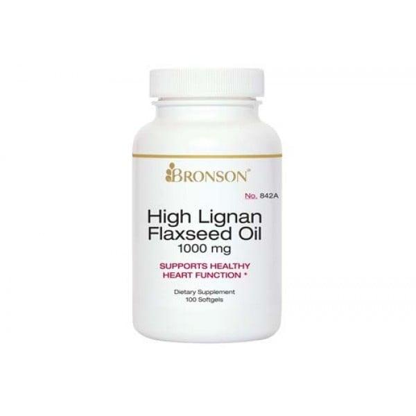 ЛЕНЕНО МАСЛО - осигурява мастни киселини Омега-3 и Омега-6 - капсули 1000 мг. х 100, BRONSON