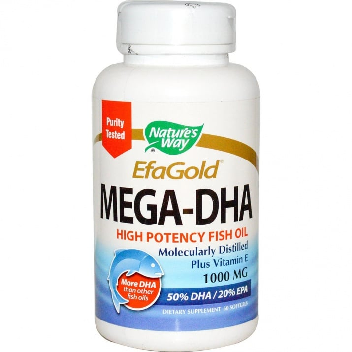 МЕГА DHA - стимулира мозъчната и сърдечно-съдовата дейност - капсули 1000 мг. х 60, NATURE'S WAY