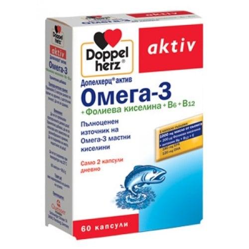 ДОПЕЛХЕРЦ АКТИВ Омега 3 + Фолиева киселина + Витамин Б6 + Витамин Б12 *60 капс., QUEISSER