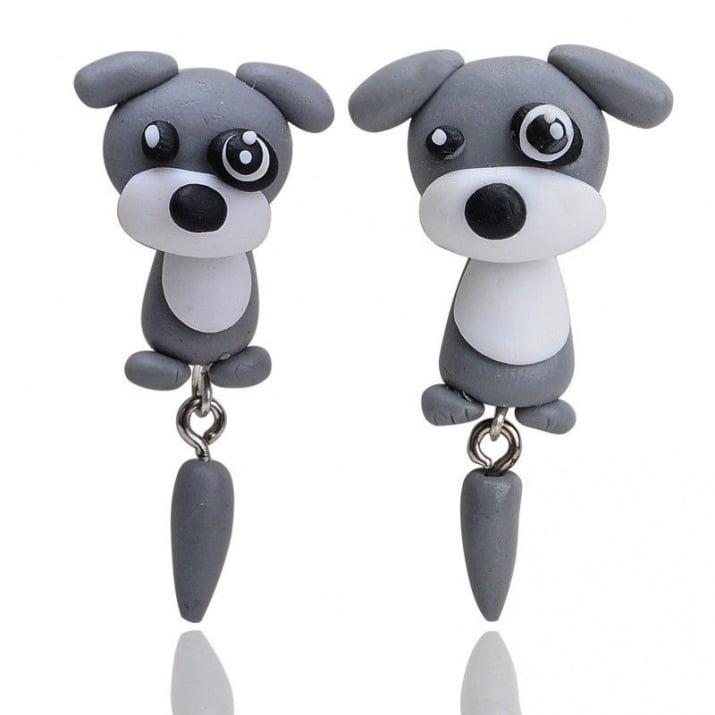 "Арт обеци с 3D ефект - ""Lovely Dog"", Кученце"
