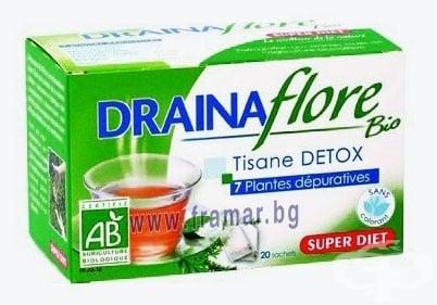 ДРЕНАФЛОР - детоксикира тялото, подкрепя бъбречната дейност - сашета х 20, SUPER DIET