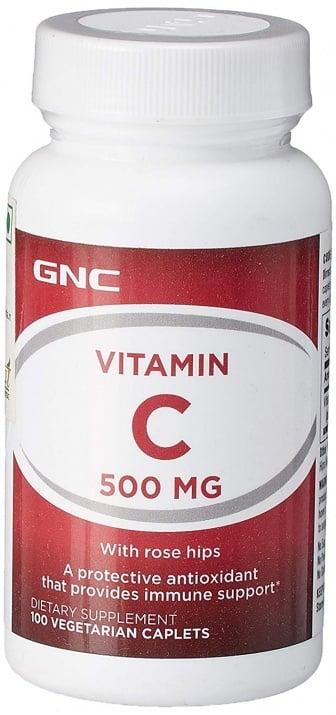 ВИТАМИН С + ШИПКИ - антиоксидант, подкрепя здравето на имунната система -  таблетки 500 мг. х 100, GNC