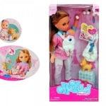 Кукла с бебче, кученце и аксесоари